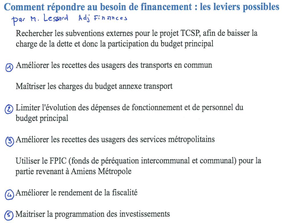 document de Jacques Lessard, maire-adjoint en charge des finances